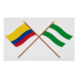 Colombia and Cesar Crossed Flags Posters