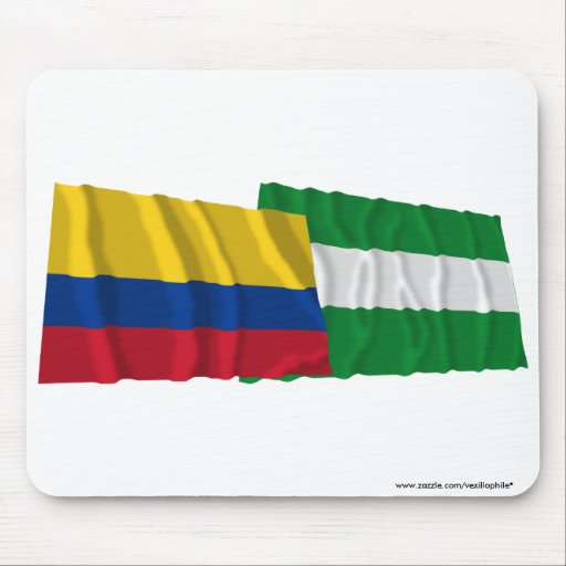 Colombia and Cesar Waving Flags Mouse Pads