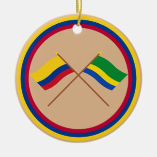 Colombia and Chocó Crossed Flags Round Ceramic Decoration
