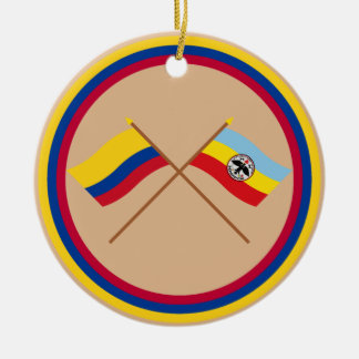 Colombia and Cundinamarca Crossed Flags Round Ceramic Decoration