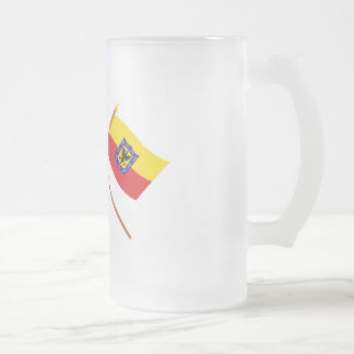 Colombia and Distrito Capital Crossed Flags Frosted Glass Mug