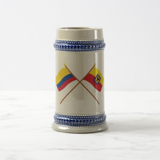 Colombia and Distrito Capital Crossed Flags Coffee Mugs
