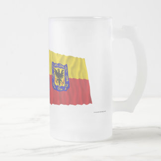 Colombia and Distrito Capital Waving Flags Frosted Glass Mug