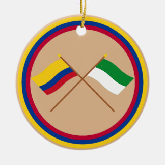 Colombia and La Guajira Crossed Flags Round Ceramic Decoration
