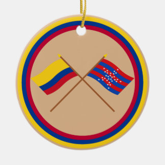 Colombia and Magdalena Crossed Flags Round Ceramic Decoration