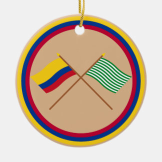 Colombia and Meta Crossed Flags Round Ceramic Decoration