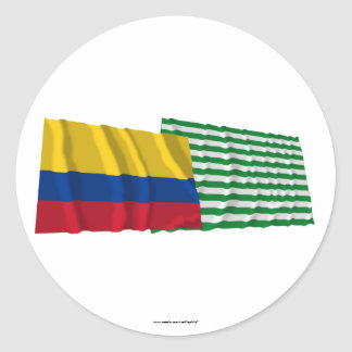 Colombia and Meta Waving Flags Classic Round Sticker