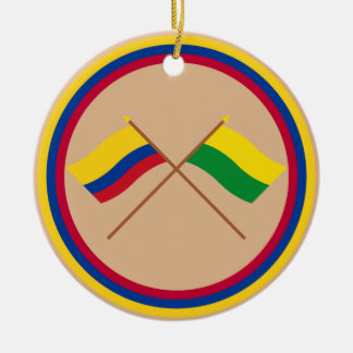 Colombia and Nariño Crossed Flags Round Ceramic Decoration