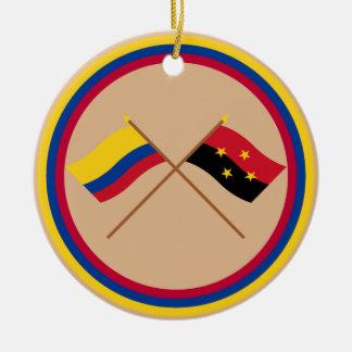 Colombia and Norte de Santander Crossed Flags Round Ceramic Decoration