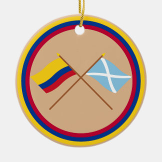 Colombia and San Andrés Crossed Flags Round Ceramic Decoration