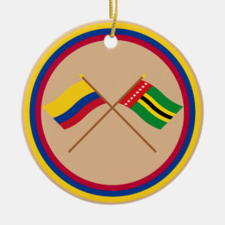 Colombia and Santander Crossed Flags Round Ceramic Decoration