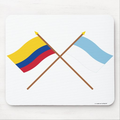 Colombia and Valle del Cauca Crossed Flags Mouse Pads