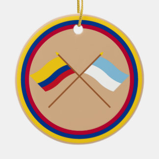 Colombia and Valle del Cauca Crossed Flags Round Ceramic Decoration