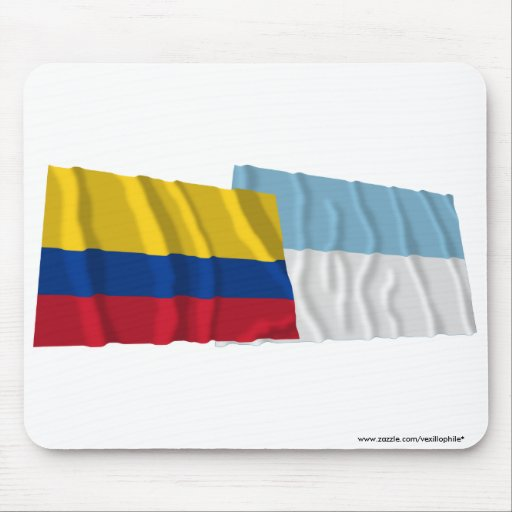 Colombia and Valle del Cauca Waving Flags Mousepad