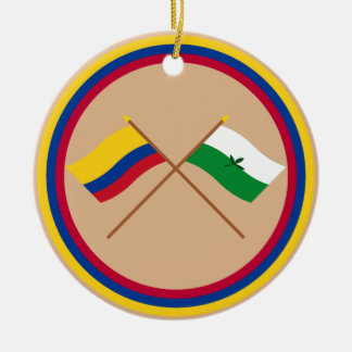Colombia and Vaupés Crossed Flags Round Ceramic Decoration