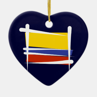 Colombia Brush Flag Ceramic Heart Decoration