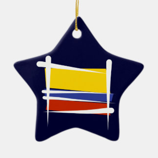 Colombia Brush Flag Ceramic Star Decoration