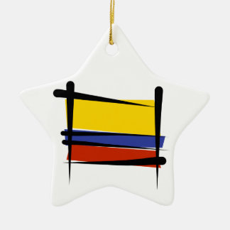Colombia Brush Flag Christmas Ornament
