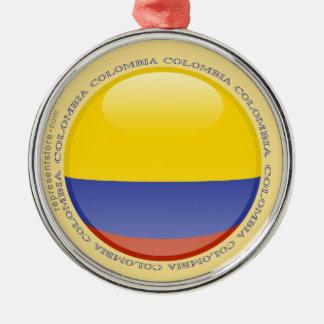 Colombia Bubble Flag Silver-Colored Round Decoration