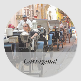 Colombia-Carriage Ride in Cartagena Customizable Classic Round Sticker
