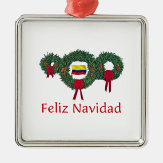 Colombia Christmas 2 Silver-Colored Square Decoration