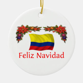 Colombia Christmas Round Ceramic Decoration