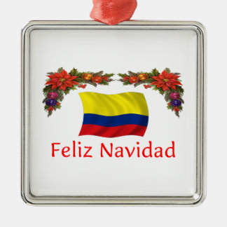 Colombia Christmas Silver-Colored Square Decoration