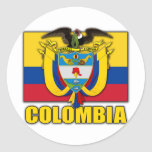 Colombia Coat of Arms Round Stickers
