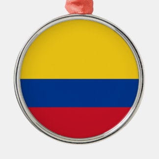 Colombia – Colombian Flag Silver-Colored Round Decoration