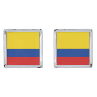 Colombia Flag Cufflinks Silver Finish Cuff Links