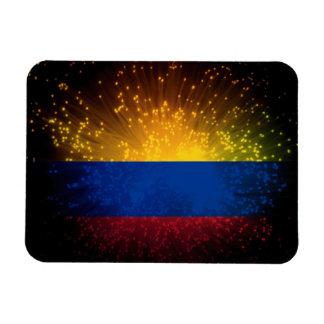 Colombia Flag Firework Rectangle Magnet