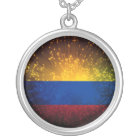 Colombia Flag Firework Silver Plated Necklace