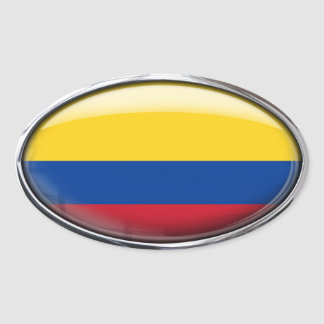 Colombia Flag Glass Oval Oval Sticker