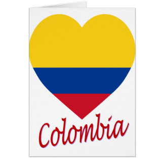 Colombia Flag Heart Card