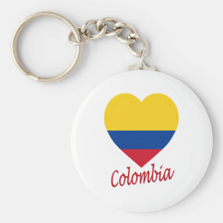 Colombia Flag Heart Key Ring