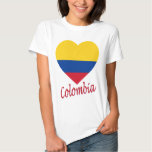 Colombia Flag Heart T Shirt