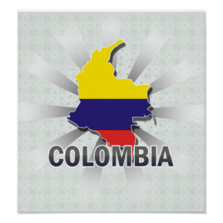Colombia Flag Map 2.0 Poster