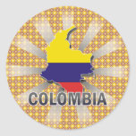 Colombia Flag Map 2.0 Round Stickers