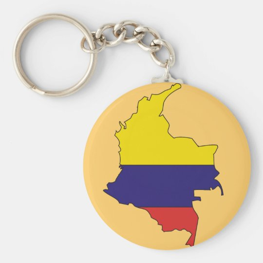 Colombia flag map basic round button key ring