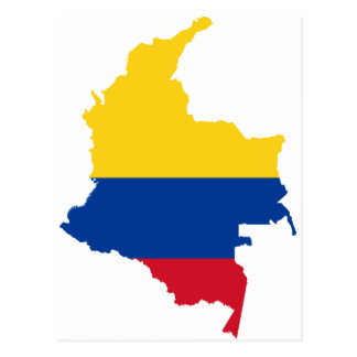 Colombia Flag map CO Postcard