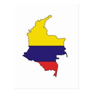 Colombia flag map postcard