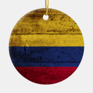 Colombia Flag on Old Wood Grain Christmas Tree Ornaments