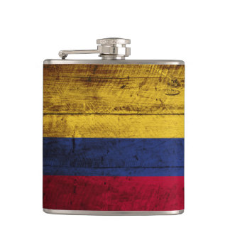Colombia Flag on Old Wood Grain Flasks