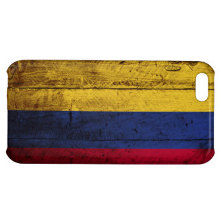 Colombia Flag on Old Wood Grain iPhone 5C Covers