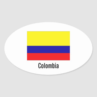 Colombia flag oval stickers