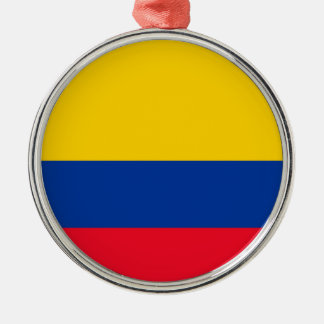 Colombia Flag Silver-Colored Round Decoration