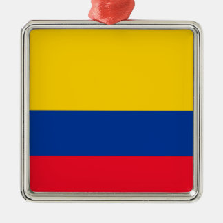 Colombia Flag Silver-Colored Square Decoration
