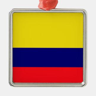 Colombia flag Silver-Colored square decoration