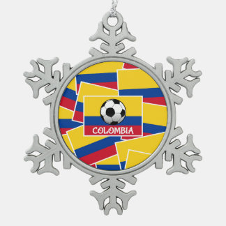 Colombia Football Pewter Snowflake Decoration