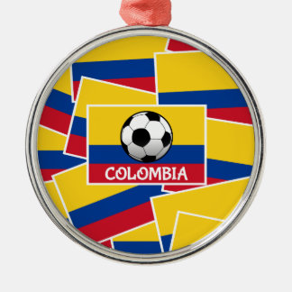 Colombia Football Silver-Colored Round Decoration